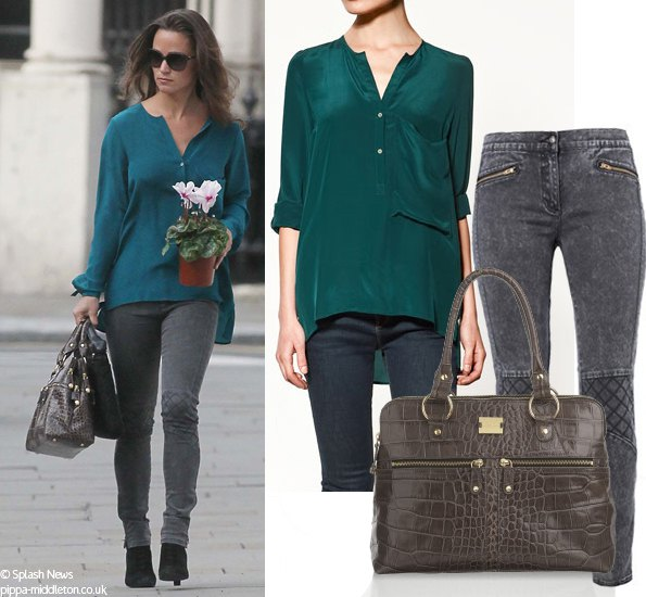 teal long sleeve linen shirt with gray skinny jeans