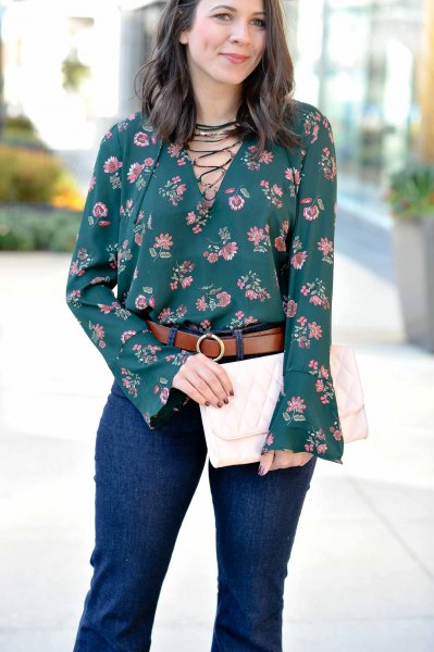 dark teal lace watch sleeveless blouse with jeans