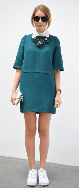 white collar shirt with teal half-heated t-shirt dress
