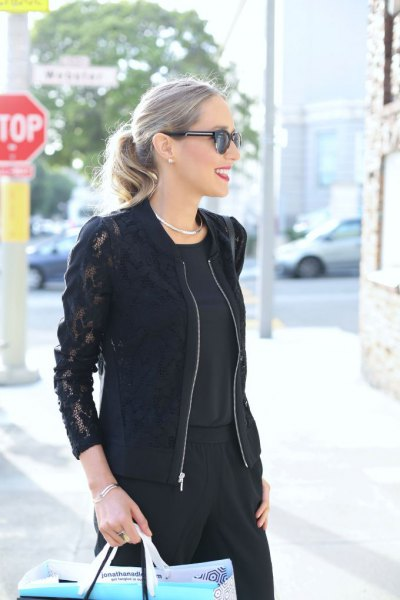 black lace bomber jacket with wide leg pants