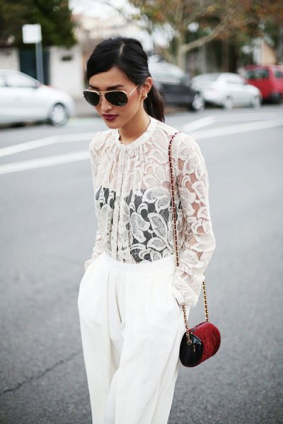 white lace buttoned jacket with wide leg pants