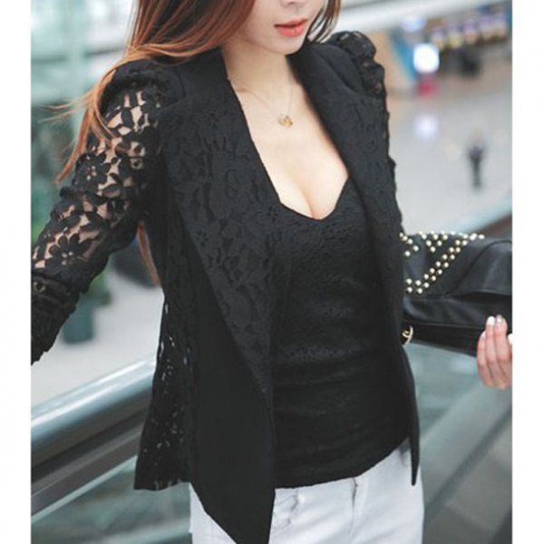 black lace blazer with deep v-neck top and white jeans