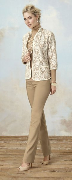 white lace jacket with crepe outfit