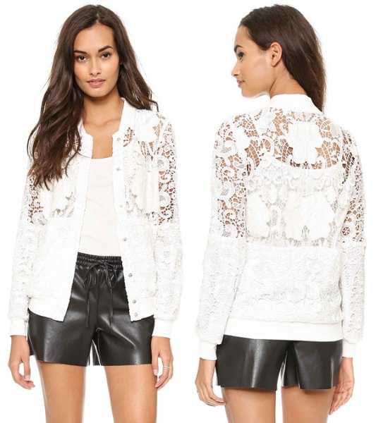 white lace jacket with black leather shorts