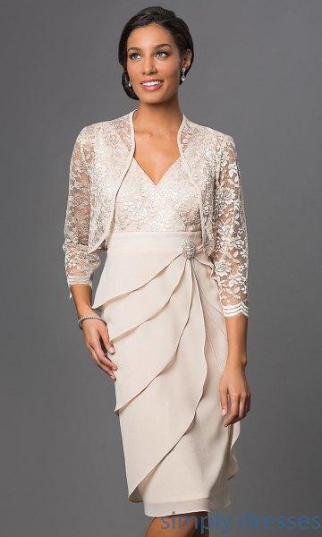 white lace jacket knee length dress