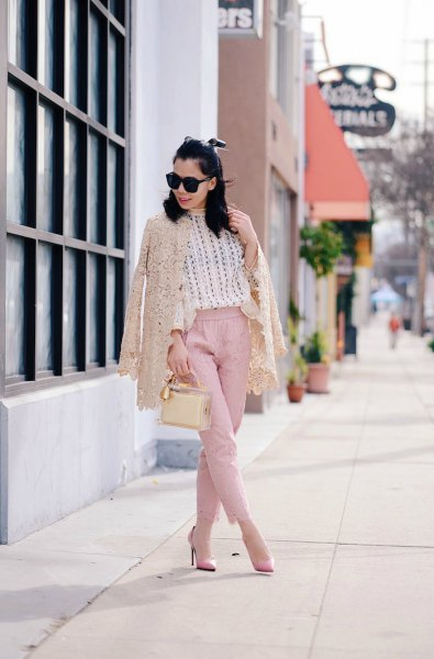 ivory lace jacket with white sweater and pink chinos