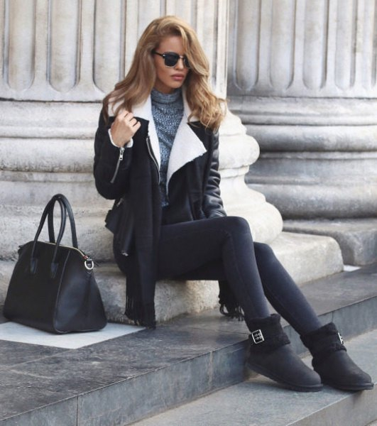 black leather jacket with leather and boots