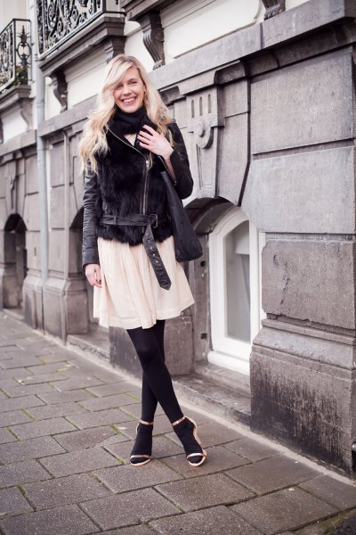 black velvet shirt jacket with pale pink chiffon flared mini dress