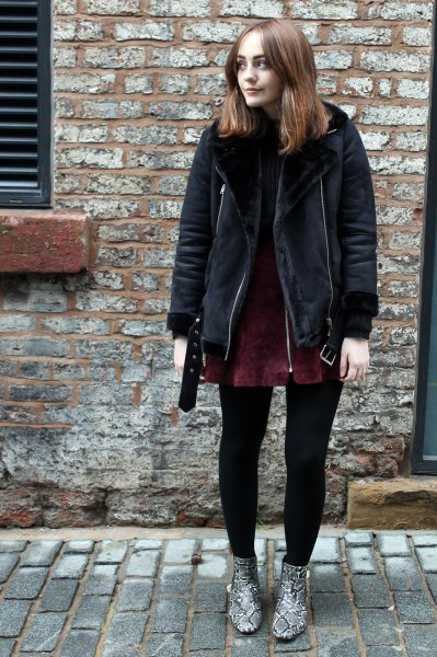 black shearling jacket with dark green suede dress in suede