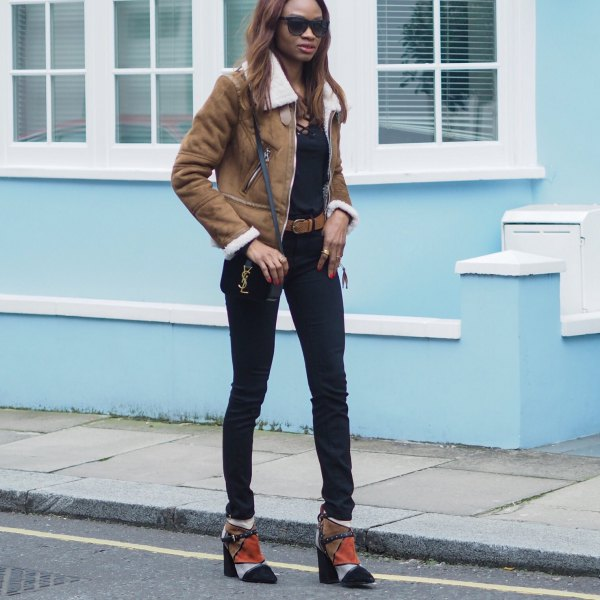 brown shearling jacket with black lace up