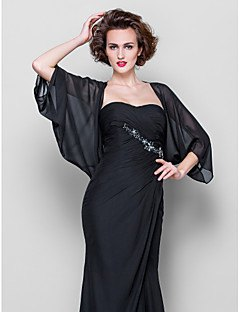 best black chiffon batwing jacket with strapless wedding gown