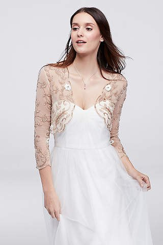 best pink floral sheer jacket with white wedding dress
