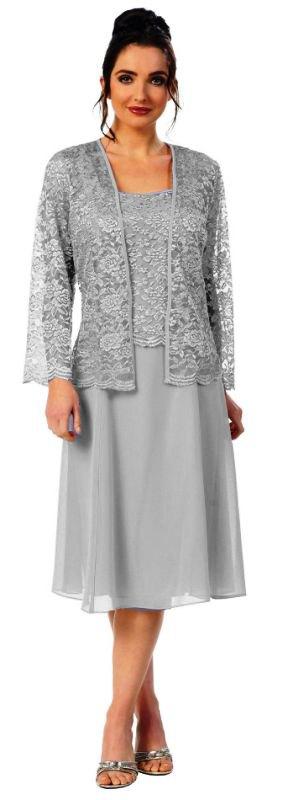 best gray lace jacket with matching chiffon wedding dress
