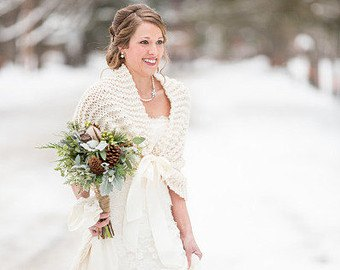 best white knitted cape with wedding dress