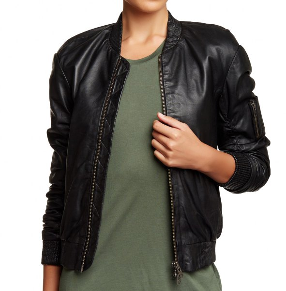 black bomber jacket with green t-shirt dress