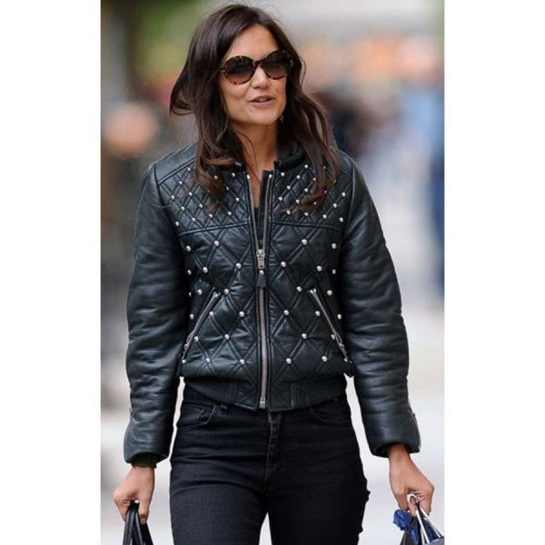 black double bomber jacket with slim jeans