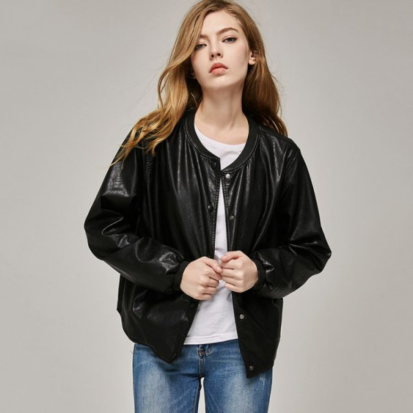 black leather bomber jacket with white tee and blue jeans