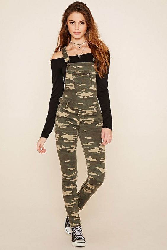camo overalls sneakers