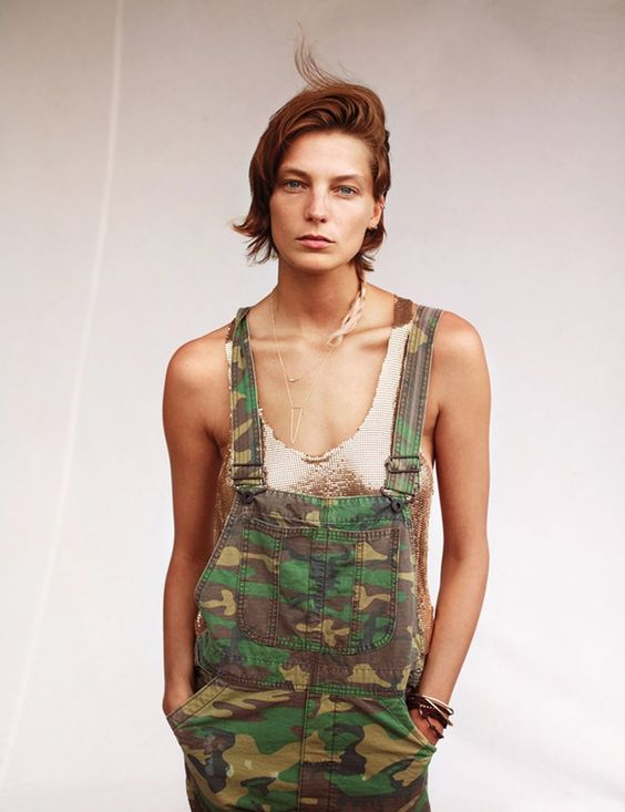 camo overalls knit top