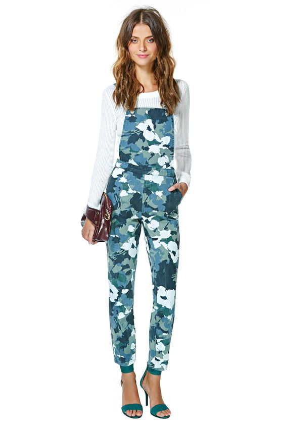 camo overalls floral