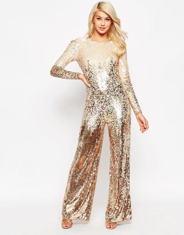 best pink gold long sleeve glitter jumpsuit