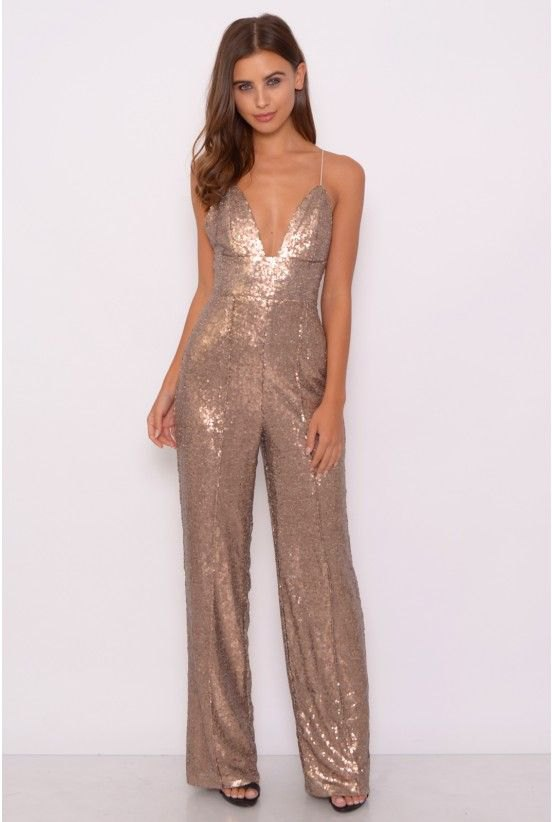 best silver deep v-neck spaghetti strap glitter jumpsuit