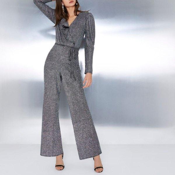 best gray glitter gather waist long sleeve wrap jumpsuit