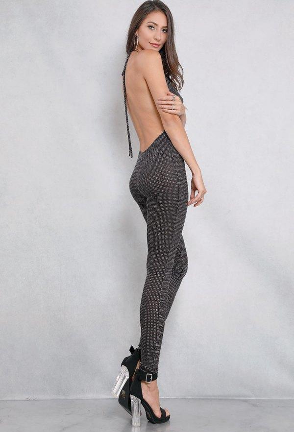 best black backless glitter skinny fit jumpsuit