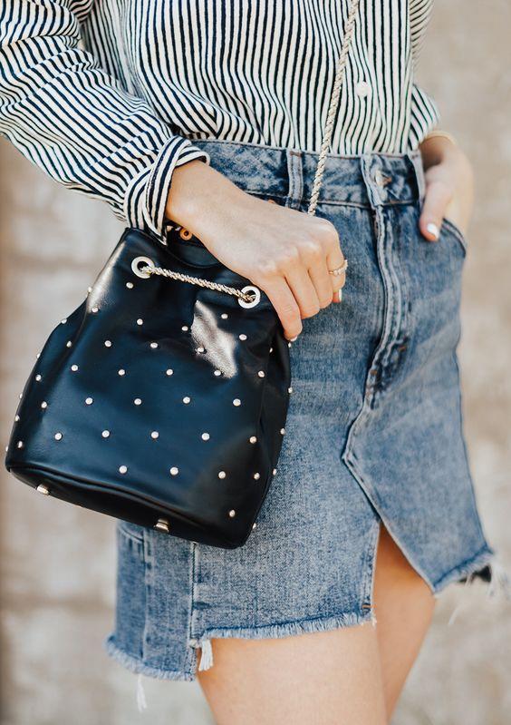 black double bag denim skirt