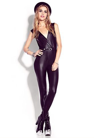 black v-neck skinny fit leather jumpsuit with felt hat