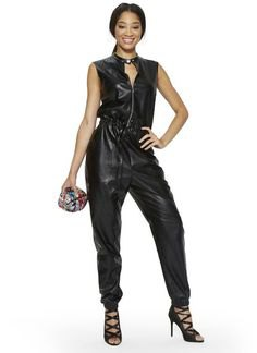black sleeveless choker neck gathered waist leather jumpsuit