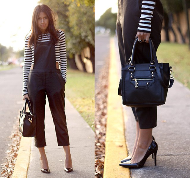 black and white striped long sleeve cropped tee with leather overalls