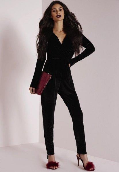 black long-sleeved v-neck velvet jumpsuit