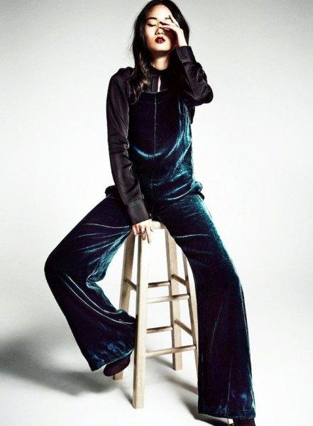 navy velvet wide leg jumpsuit with black side shirt