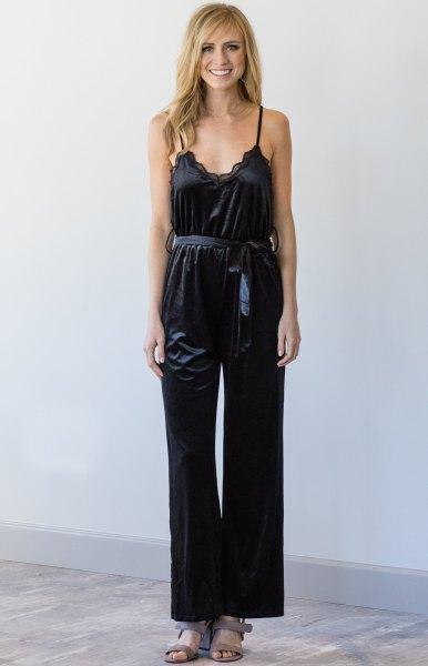 velvet jumpsuit with black lace bralette