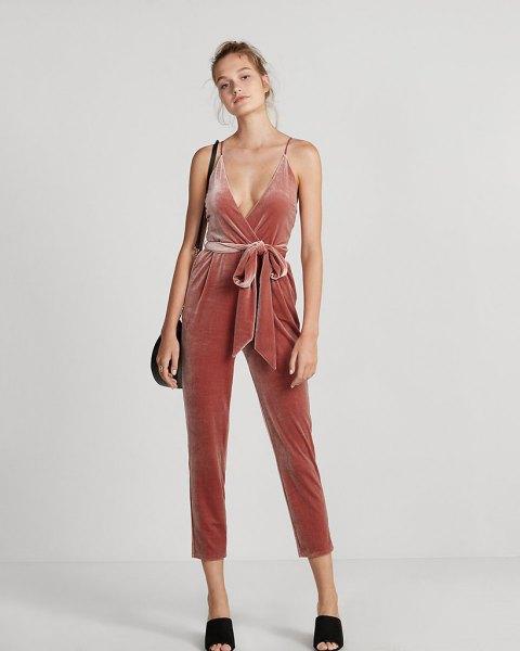 blush pink deep v-neckline waist cropped velvet jumpsuit