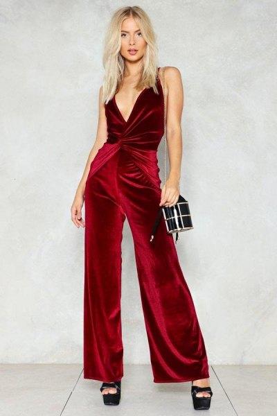 burgundy deep v-neck wrap velvet jumpsuit