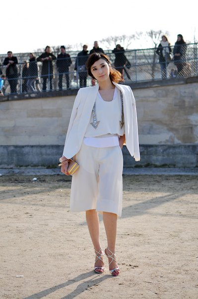 all white outfit blazer blouses culottes