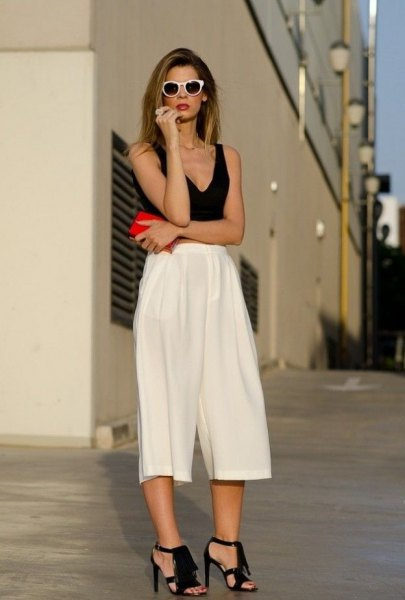 black deep v-topped crop top with white culottes