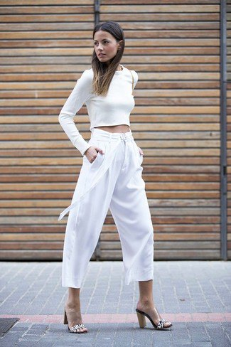 white long sleeve shape crop with culottes