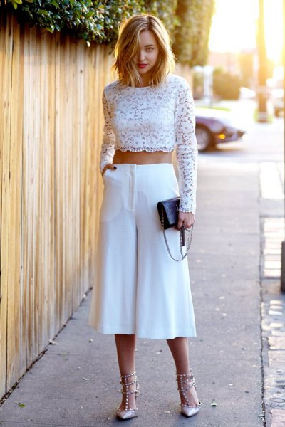 white long sleeve lace crop with culottes