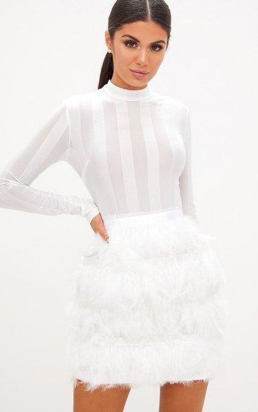 white half striped bodycon mini spring dress