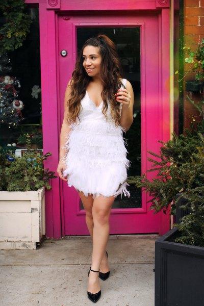 white deep v-neck feather babydoll dress