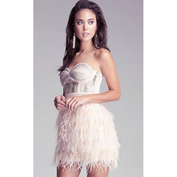 white strapless sweetheart crochet mini dress