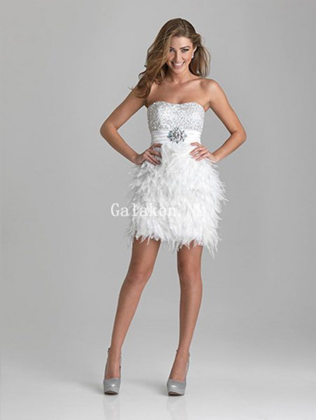 white mini strapless dress with silver sequin details