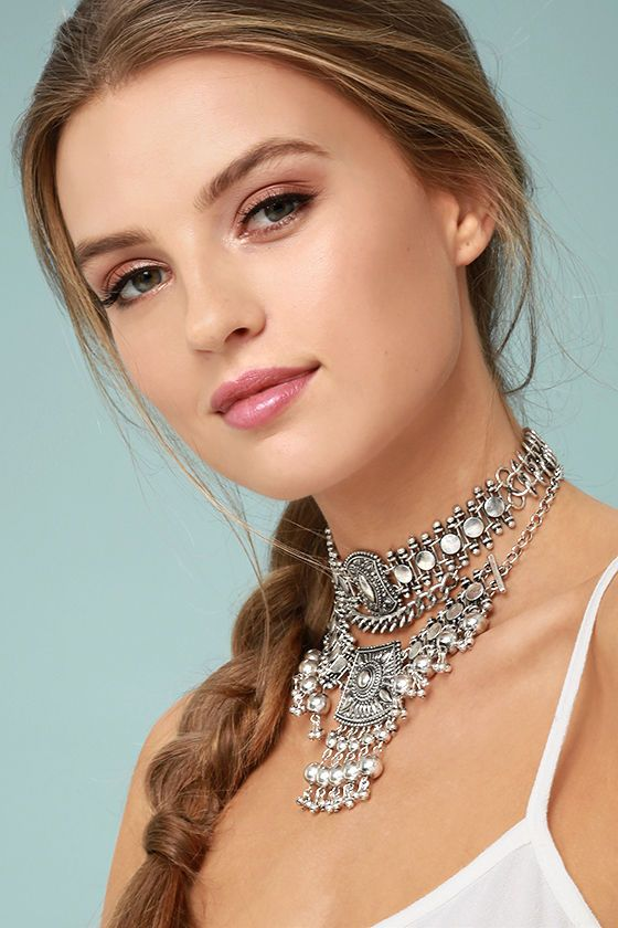 silver choker necklace solid