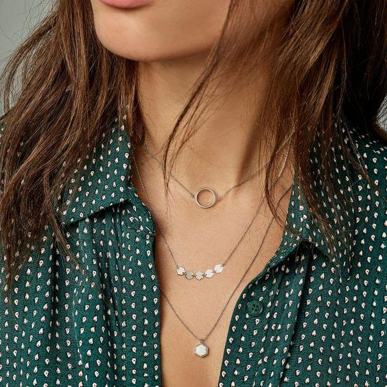 silver choker necklace open circle