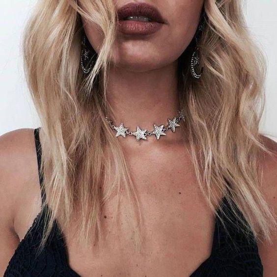 silver choker necklace stars