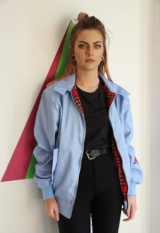 sky blue jacket with all black outfit