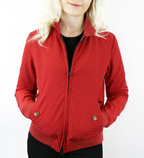 red harrington jacket with all black outfit